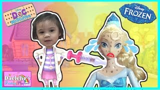 DOC MCSTUFFINS SHOT QUEEN ELSA IN THE BUM Frozen Elsa sick gets Chicken Pox with Anna and Olaf