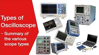 Oscilloscope Types:  analogue, digital, storage, DSO, DPO, MSO, MDO, USB