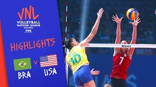 BRAZIL vs. USA - Highlights Women | FINAL | FIVB Volleyball Nations League 2019