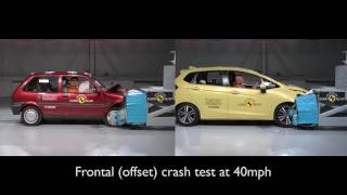 Euro NCAP 20 years of crash testing - Honda Jazz vs Rover 100 Comparison
