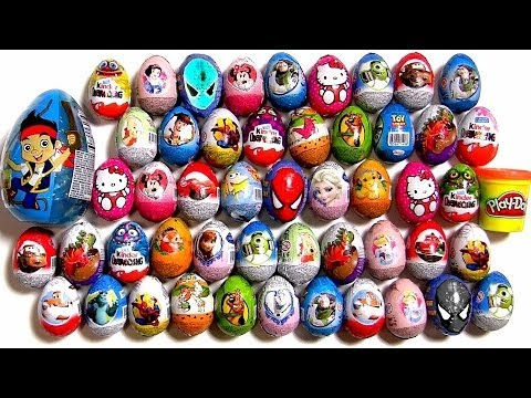 50 Kinder Surprise Eggs!! Disney Frozen Cars2 Barbie Monsters Minnie Jake Spiderman Huevos Play-Doh