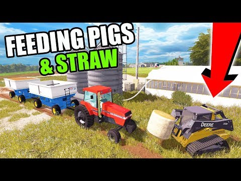DOING MORNING CHORES...FEEDING CORN. BEANS & LAYING STRAW EP #8   FARMING SIMULATOR 2017