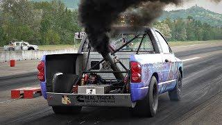 1000HP 6.7L Cummins Turbo Diesel DODGE RAM Drag Runs - Cummins Inline-6 SOUND with Straight Pipe!