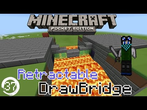 Minecraft Pocket Edition Redstone Tutorial: How to build a Compact Drawbridge in Mcpe 15.0+ #1