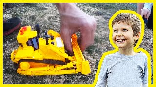 Toy Construction Trucks Clean Up Sawdust