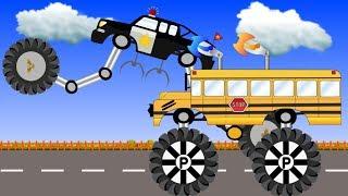Super Mega School Bus and Super Police Monster truck compilation videos -  kids video
