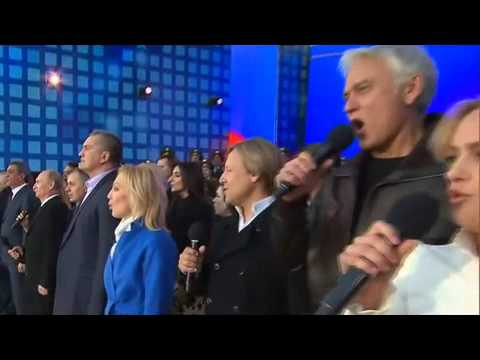 News Today 19 03 2015 Putin sings national anthem at Red Square Crimea celebration