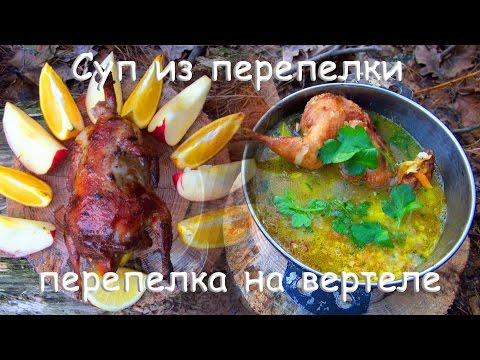 Лесная кухня: БОМБА СУП из ПЕРЕПЁЛКИ \ ПЕРЕПЁЛКА на ВЕРТЕЛЕ!