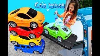 Emily Pretend Play with Car Wash for Kids
