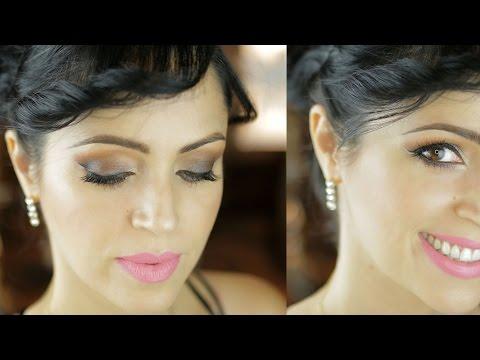 Maquillaje Ahumado de Ojos Café y Labios Rosa para San Valentin