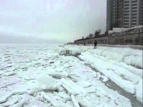 Sounds of frozen sea. Odessa, Ukraine. February 2012