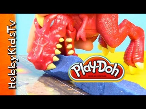PLAY-DOH Rex Dinosaur Smash Launch - Crayola Box Open. Review. Play- Create 2 Destroy