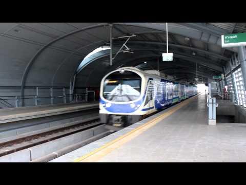 (HD) [SRT.] Airport Rail Link City Line Departing Phaya Thai Station.