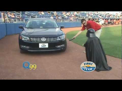 Mini Darth Vader (Max Page) unveils the new 2012 VW Passat at First Team in Roanoke, VA.