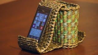 Плетёная подставка-органайзер для смартфона . Часть 2.1.