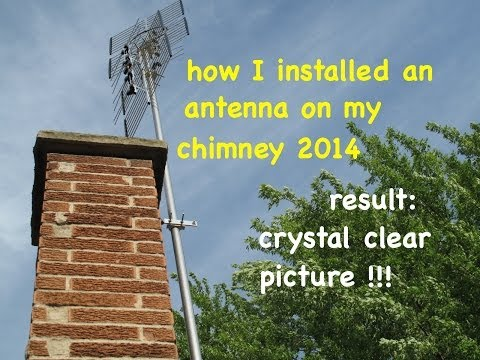 Over the air HD antenna..chimney mounted..how I did it myself. free tv