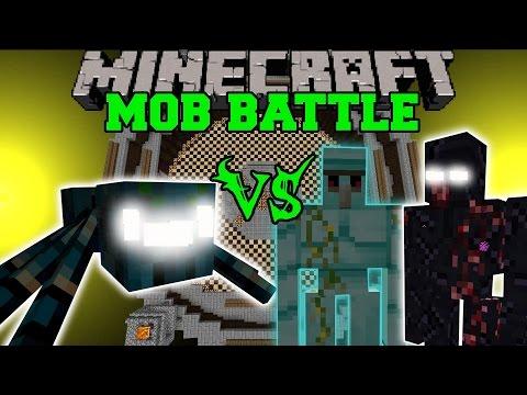 Mutant Mist Spider Vs Diamond Golem, Mutant Obsidian Golem, & General - Minecraft Mob Battles - Mods video