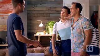David and Aaron tell Mark about their engagement and kiss scene ep 7845