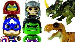 Marvel Mighty Muggs Hulk Thor Captain America Iron Man battle Dinosaurs Toys! #LotsMoreToys