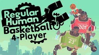Regular Human Basketball - ASH WAS CHEATING! (4 Player Gameplayer)