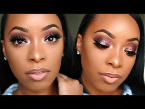 PINK GLITTER SMOKEY EYE & NUDE LIP MAKEUP TUTORIAL   KYRA KNOX