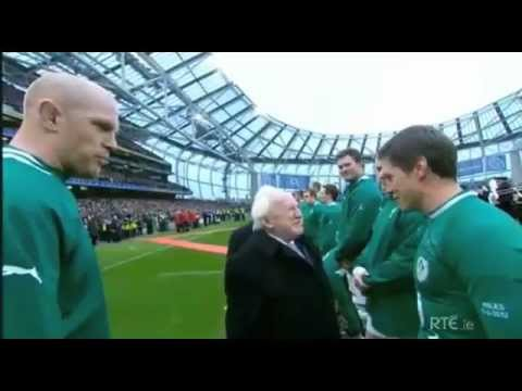 President Michael D meets Irish rugby giants