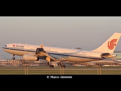 Air China A330-243 sunset landing at Rome FCO 34L