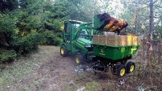 John Deere X748 - 45 Loader & 17P Cart - Moving Some Top Soil - 20171126