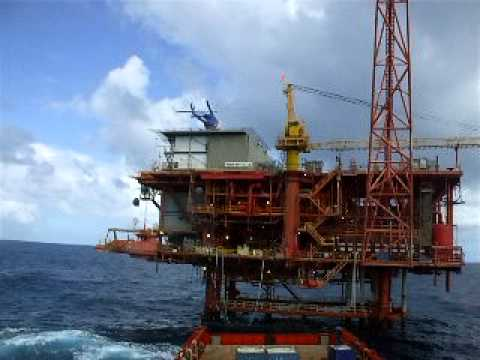 Helicopter Landing on BP Offshore Platform Trinidad South East Coast