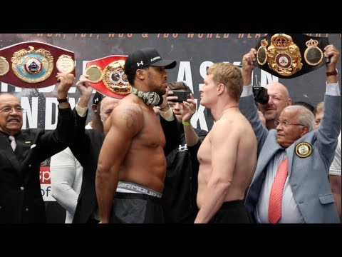 ANTHONY JOSHUA v ALEXANDER POVETKIN - *FULL & UNCUT* -OFFICIAL WEIGH-IN & FACE-OFF / JOSHUA-POVETKIN