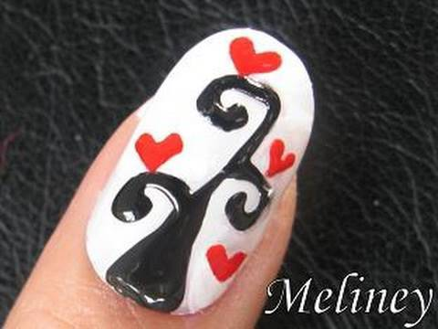 Nail Art Tutorial - Tree of Love Heart Romantic Valentines Day Design for