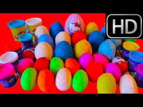 30 Play Doh Surprise Eggs unboxing Maxi Hello Kitty egg. Mickey Mouse Peppa Pig Disney Cars
