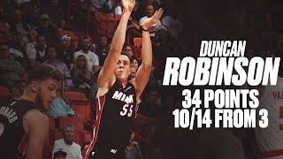 Heat's Duncan Robinson Goes Off for 10 Threes and 34 Points vs. Hawks