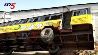 Tipper Lorry Hits RTC Bus In Rangareddy Dist