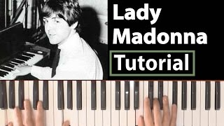 The Beatles Lady Madonna Piano tutorial style sheets + lyrics and chords