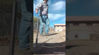 How to throw the one flip.. pitching horseshoes with JW. HiCK... 70% ringers throw 20 horseshoes..