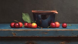 Cherry still life - oil painting time lapse