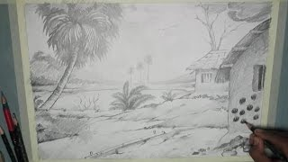 How to Draw a Village Scenery with Pencil | Step by Step