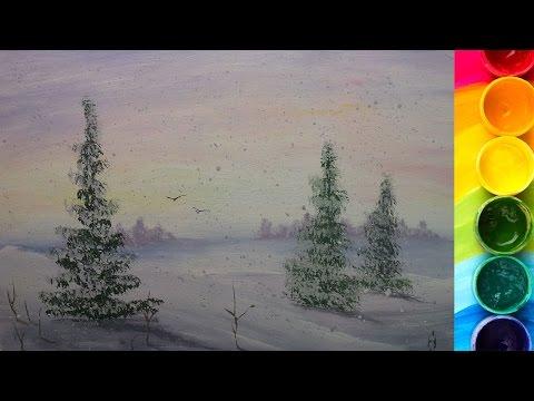 Видео как нарисовать пейзаж гуашью поэтапно
