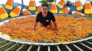 TRAMPOLINE VS 1,000,000 PEICES OF CANDY CORN!