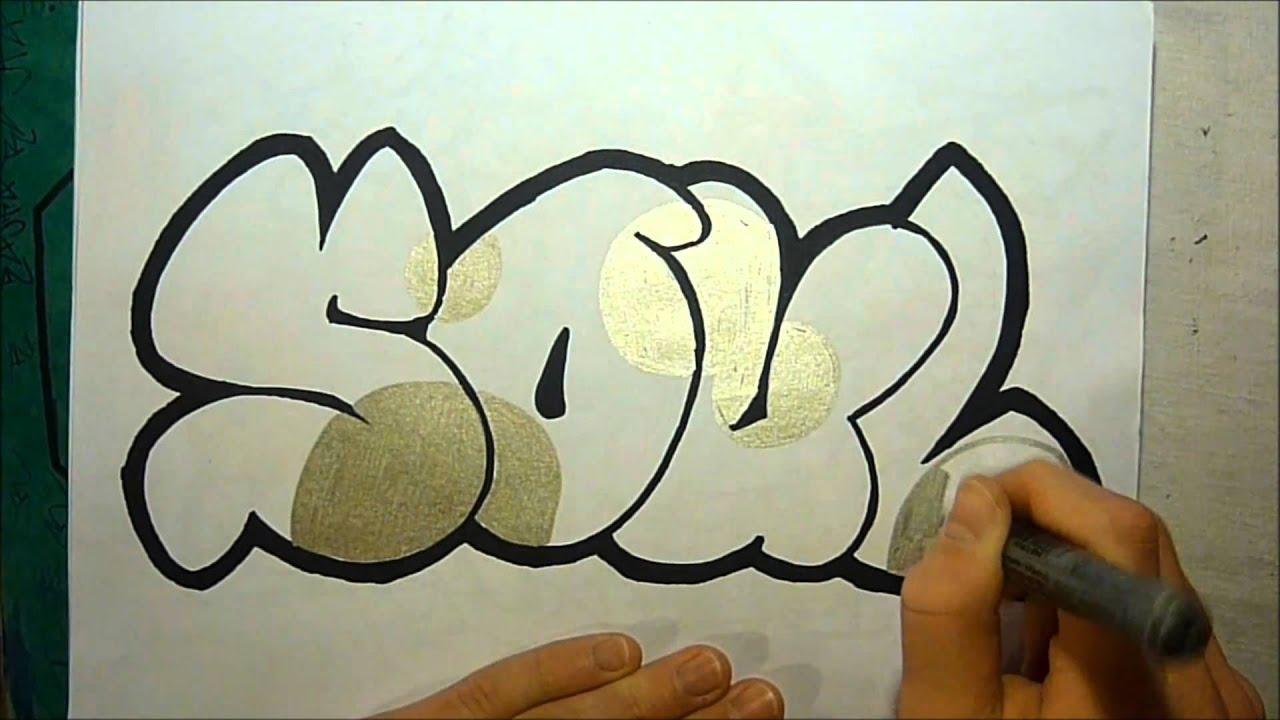 Graffiti sketch soul in bubble letters by eastsider youtube - Graffiti bubble ...