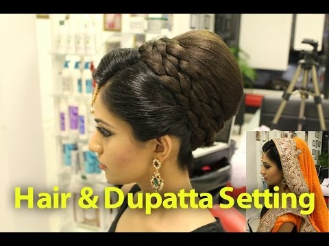 Indian, Pakistani, Asian Bridal Hair Style | Tikka & Dupatta Setting Tutorial | Wedding Hairstyles video