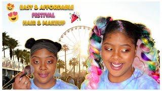 Festival Inspired Natural Hair & Makeup | Ombre' Rainbow Jumbo Braid + Glitter Cut Crease