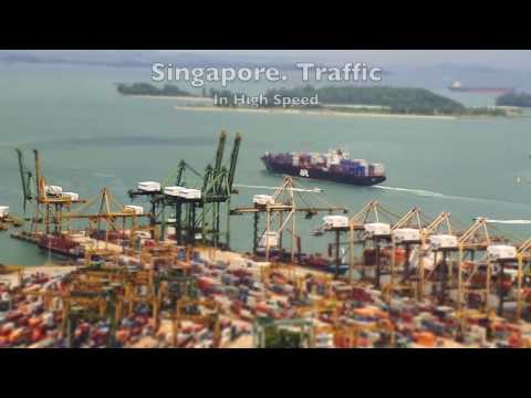 Dynamic Singapore. Port, Traffic, People.  Time Lapse
