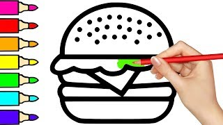 Coloring pages With Burger Fast Food Colors For Kids Drawing | Baby songs