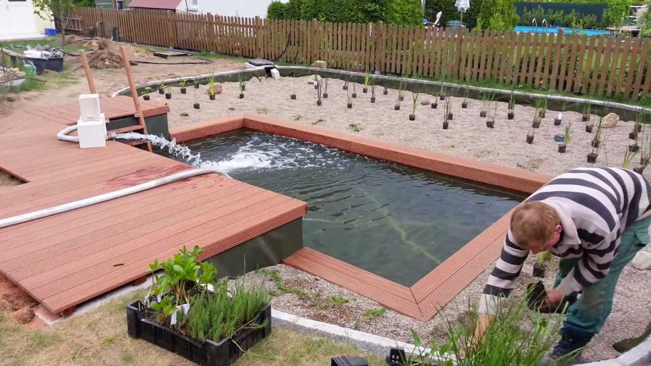 schwimmteich 70 m wasserfl che youtube. Black Bedroom Furniture Sets. Home Design Ideas