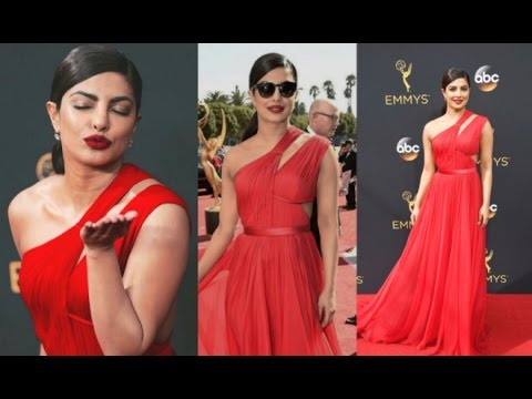 Priyanka Chopra Hot In Red Dress At Emmy Awards 2016 Red Carpet