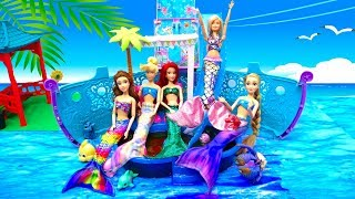 Mermaids Ariel Princess Cruise Ship LOL Bath Bombs Mermaid Tail & Costumes Change in Barbie Pool