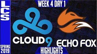 C9 vs FOX Highlights | LCS Spring 2019 Week 4 Day 1 | Cloud9 vs Echo Fox