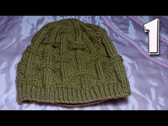 Мужская шапка 58-62 см. Вязание спицами